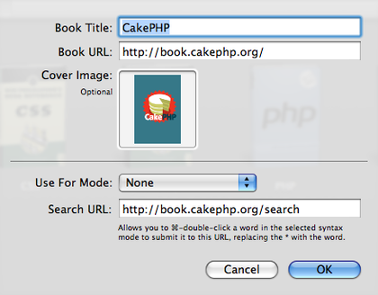 Screenshot of CakePHP Book settings